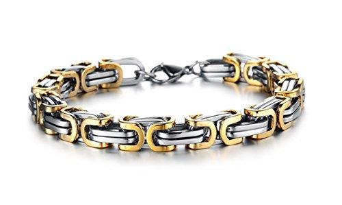Gioielli da uomo in acciaio inox, bizantina personalizzato braccialetti, acciaio inossidabile, colore: Gold, cod. J0625