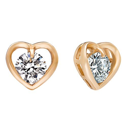 Romantic Time Hollowed Out Zirconia Heart Solitaire Style Dimentional 18k Rose Gold Plated Stud Earrings