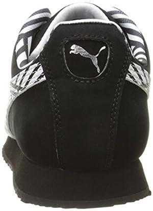 PUMA Women's Roma NBK Sneaker, Black/White, 8 B US