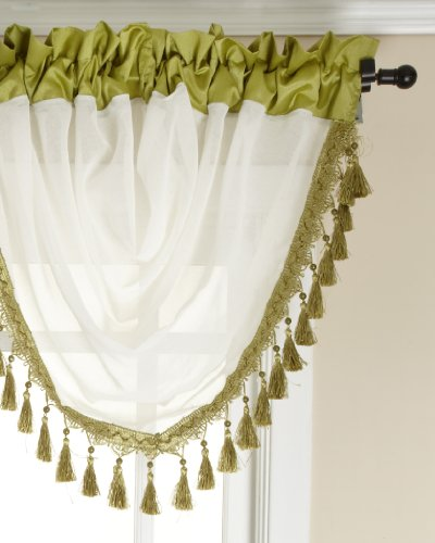 Stylemaster Soho Sheer Waterfall Valance with Faux Silk Band and Fringe, Avocado, 47 by 38-Inch