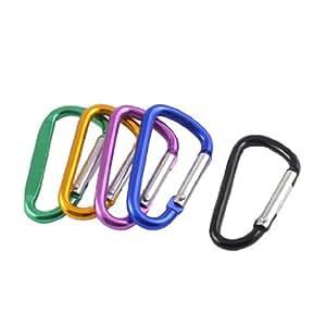 Camping Multicolor Aluminum Keychain Keyring Carabiner Pouch Keys Holder 5 Pcs
