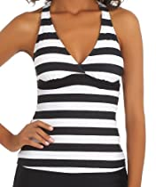 Next - Lined Up Racerback Wrap Tankini Top Black 38D