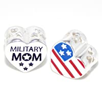 ".925 Sterling Silver ""2 Sided Military MOM Heart w/ American Flag"" Charm Bead for Snake Chain Charm Bracelets 4139 by Pro Jewelry"