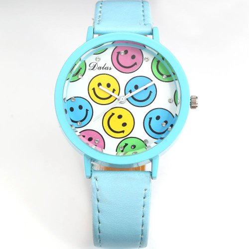 AMPM24 Smiley Face Blue Round Dial Lady Girl Clear Crystal Analog Wrist Quartz Watch