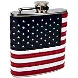 6oz Stitched American Flag Flask