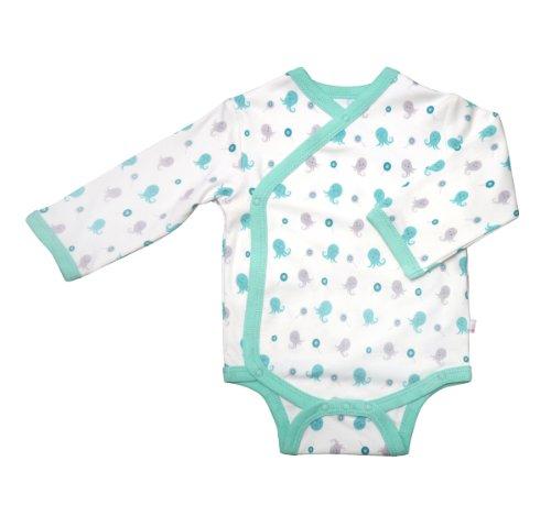 Babysoy Unisex Baby Organic Kimono Bodysuit (Baby) - Octopus - 0-3 Months