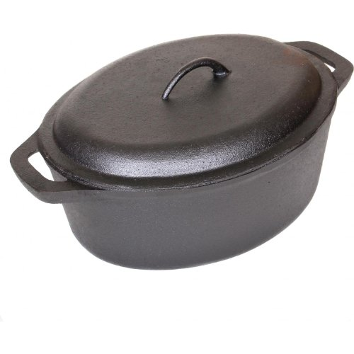 Cajun Cookware Pots 7 Quart Seasoned Cast Iron Oval Casserole Pot