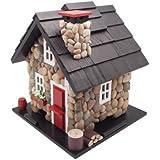 Home Bazaar Windy Ridge Bird Feeder, Stone/Red/Black