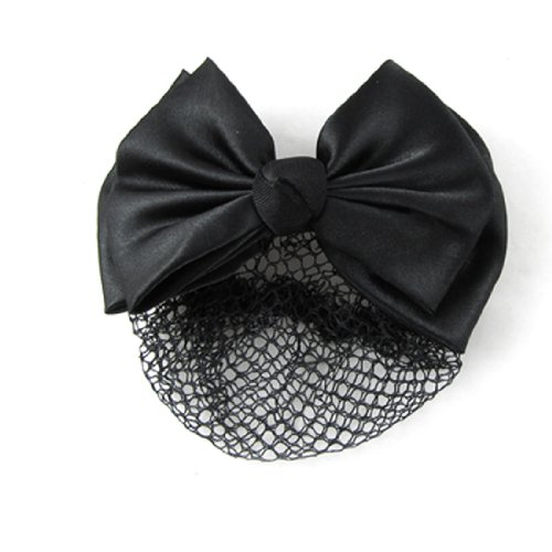 Black Polyester Bowtie Metal Barrette Hair Clip Snood Net for Women