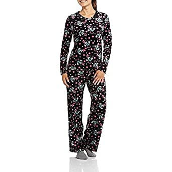 "Disney Mickey Mouse Ladies ""Minky"" 2 Pc Fleece Sleeper Pajama Set"