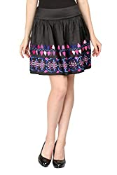 Aaliya Woman Polyester Crepe Mini Casual Skirt - Black, XL