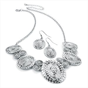 Antique Silver Effect Disc Chain Fancy Necklace And Earring Set Brand New