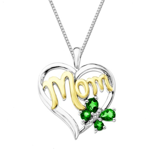 XPY Sterling Silver and 14k Gold Emerald Butterfly Mom Heart Pendant Necklace, 18