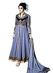 Mahaveer Fashion Women's Net Semi-Stitched Anarkali (herrite_Grey_Free Size)