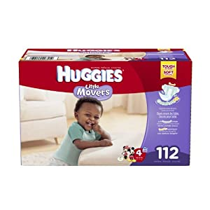 Huggies Little Movers Diapers, Size 4, 112 Count