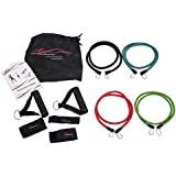 ProSource Premium Double Dipped Latex Stackable Resistance Bands with Extra Large Handles, Door Anchor, Ankle Straps, Carrying Case, and Exercise Chart (11pc Set)