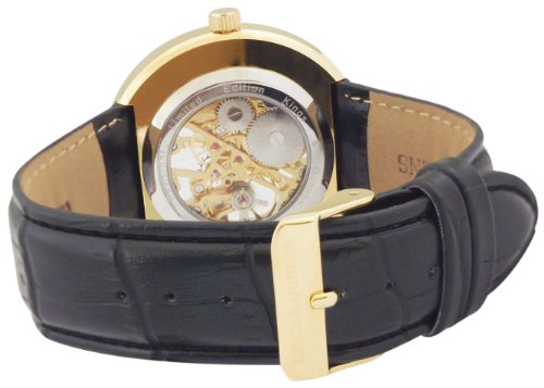 Kings and Queens Mens Mechanical Skeleton Watch Gold Bezel Black Leather Strap KQ-BKGD wholesale golden designer mens hand mechanical coffee strap watch