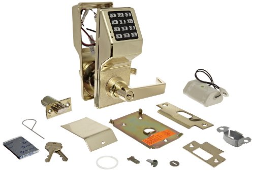 Alarm Lock Trilogy T2 100-User Standalone Electronic Digital Keypad Cylindrical Lock Leverset, Polished Brass Finish