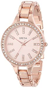 "Breda Womens 8172-rosegold ""Veronica"" Rose Gold-Tone and Rhinestone Slim Bracelet Watch"