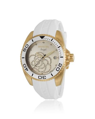 Invicta Women's ILE0488ASYB Angel White/Gold-Tone Rubber Watch As You See