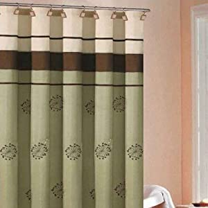 Maggie Embroidered Shower Curtain in Sage