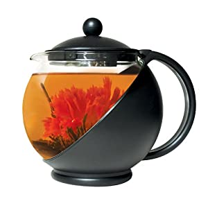 Primula Flowering Tea Set with Half-Moon 40-Ounce Pot, Black Glass by Primula
