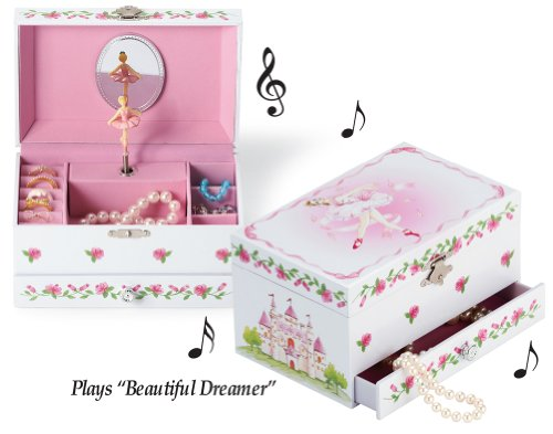 "Beautiful Decorative Ballerina Wind Up Music Jewelry Box - Plays ""Beautiful Dreamer"" Spinning Ballet Dancer front-716656"