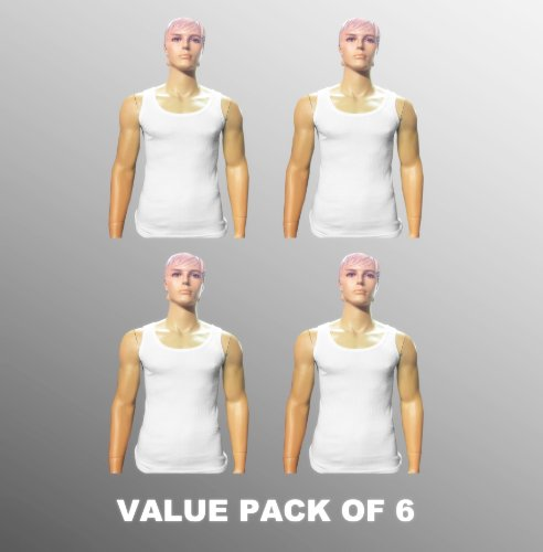 Value Pack Of 4 Thermal Underwear Sleeveless Vest White, Various Sizes