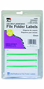 Charles Leonard Inc. File Folder Labels, 0.56 x 3.43 Inches, Green, 248/box (45225)