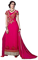 Trishana Fashions Women's Georgette Dress Material(Tfwe12447,Deep Pink)