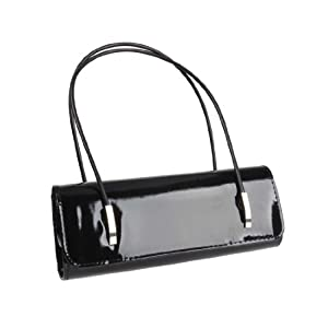 BMC Womens Synthetic Patent Leather Evening Clutch w/ Black Cord Shoulder Straps - AFTER HOURS BLACK