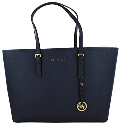 Michael KorsJet Set Travel Saffiano Leather Top-Zip Tote - Borsa con Maniglia Donna , Blu (Blau (Navy 406)), 43x30x13 cm (B x H x T)