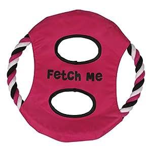 Grriggles 10-Inch Rope/Nylon Flyers Dog Toy, Fetch Me, Raspberry Sorbet