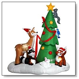 XAirblown 6 ft Woodland Critters with Christmas Tree