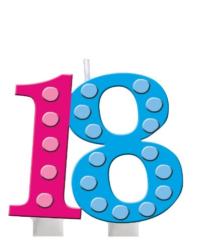 Creative Converting Bright and Bold 18th Birthday Molded Numeral Cake Candle - 1