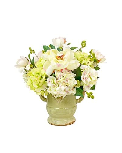 Creative Displays Fresh Cut Peonies With Mixed Hydrangea In Ceramic Handled Container, Cream/Green/P...