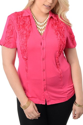 DHStyles Women's Plus Size Chic Trendy Button-Front Ruffle Top