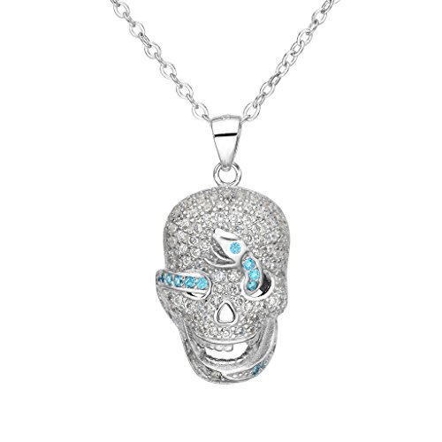 EVER FAITH® Cancella collana del pendente argento 925 CZ blu Halloween Gothic Skull Light Snake femminile