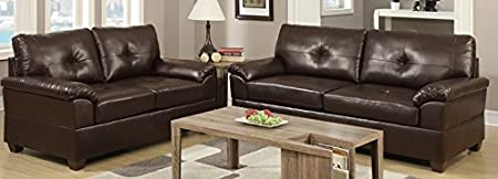 2-Pieces Sofa Loveseat in Espresso Finish by Poundex