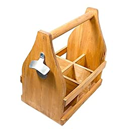 Wooden 6-Pack Sturdy Handle Makes Carrying Easy, Beer Caddy with Bottle Opener