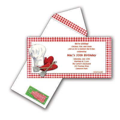 BBQ Invitation with Coordinating Envelope - Package of 25
