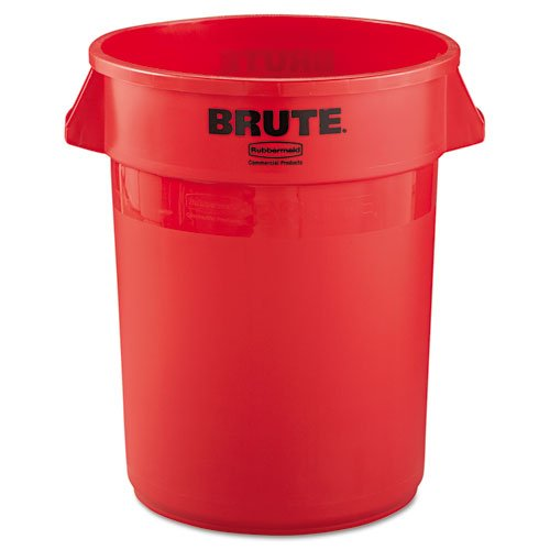 Rubbermaid Commercial Brute Refuse Container, Round, Plastic, 32 Gal, Red - Includes One Each.