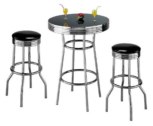 Retro 3-Piece Chrome Bar Stools and Table Set