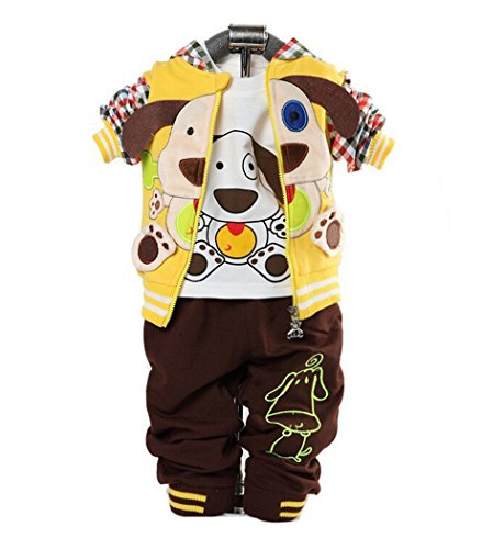 Cute Baby Boy Outfits Dog Strip Hoodie Jacket Tshirt Denim Pants Yellow 12-24m