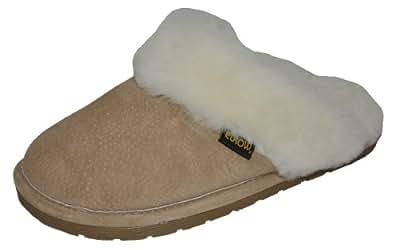 Eurow Sheepskin Women's Hardsole Scuff Slipper , Chestnut/White ,Size 8