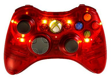 MS X-Box 360 Crystal Red Stealth Multi 8 Mode Turbo Action Rapid Fire Gun Mod Wireless Game Controller w/ Flashing LED's Lights.