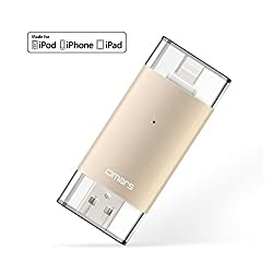[Apple MFI Certified]oMARS Flash Drive USB 3.0 with Lightning Connector External Storage Memory Expansion for iPhones, iPads iPod and Computers 32G Gold New Version