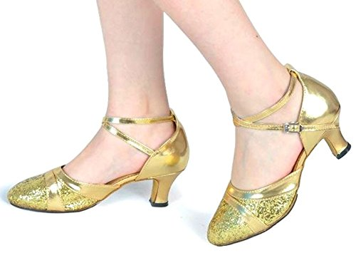 社交ダンス シューズ レディース 女性用 24cm ラテン モダン 兼用 ゴールド (ゴールド, 24cm)