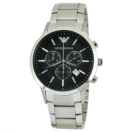 Emporio Armani Gents Round Case Black Dial Chronograph Stainless Steel Bracelet Watch