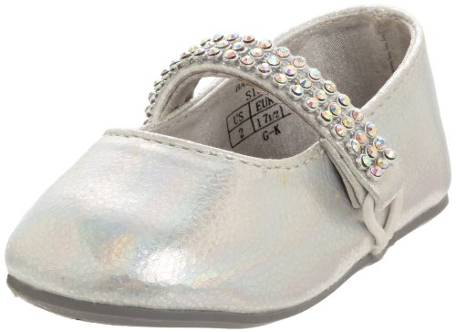 Stuart Weitzman Layette Sugar Ballet Flat (Infant/Toddler),Silver,4 M US Toddler